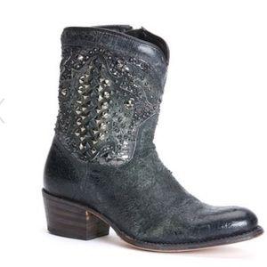 Frye Deborah Deco Distressed Studded Short Boot 11